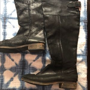 """Nordstrom BP black """"roughed"""" leather boots"""